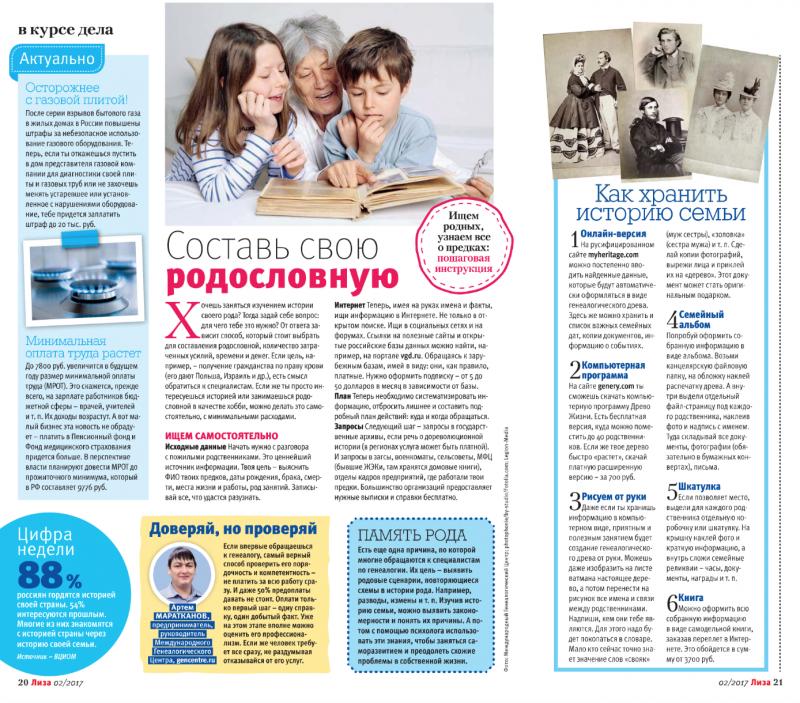 Пошаговая инструкция для начинающих генеалогов и советы Артема Маратканова в журнале «Лиза»